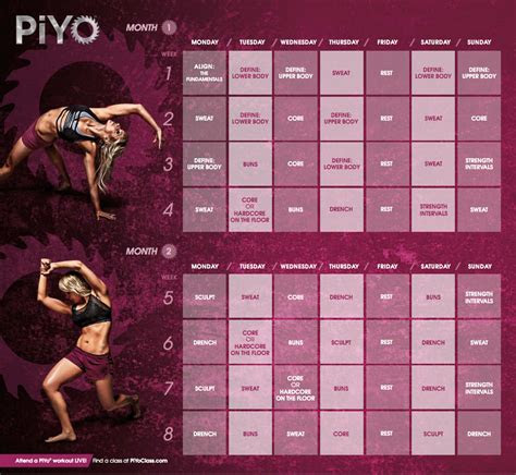 piyo workout calendar ideas  pinterest piyo