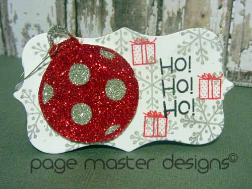 ornament card red silver