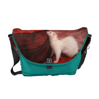 White Ferret Messenger Bag - Red Passion & Blue