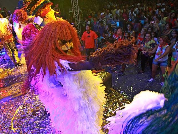Foliões seguem as coreografias feitas pelos bailarinos do Bicho Terra (Foto: Biné Morais/O Estado)