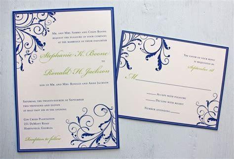 Royal Blue and Apple Green Vine Swirls with Border wedding