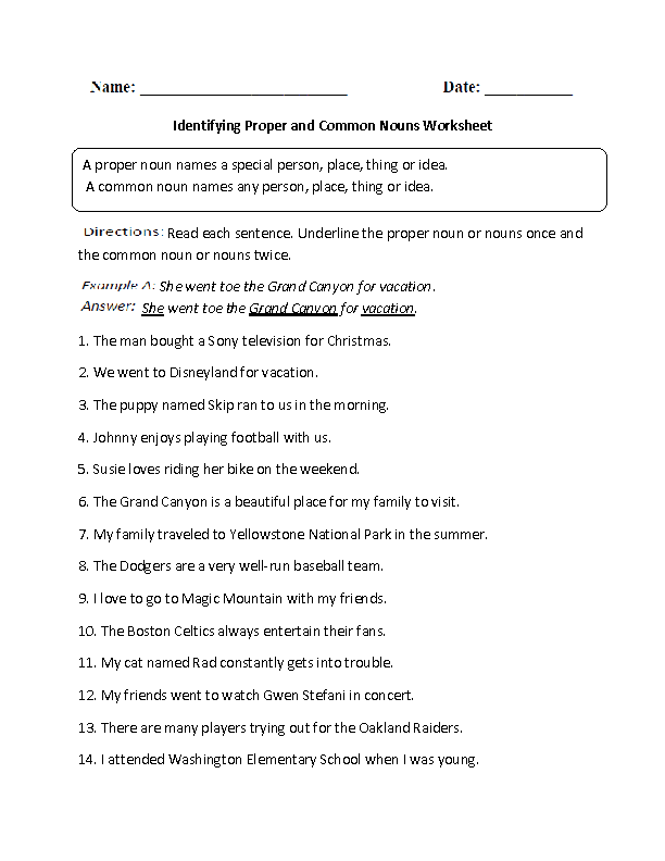25 Common And Proper Nouns Worksheet 6th Grade - Worksheet Project List