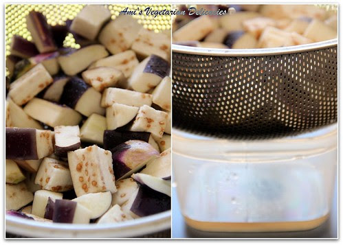 Eggplant mixed with salt & water dripping from salted eggplant