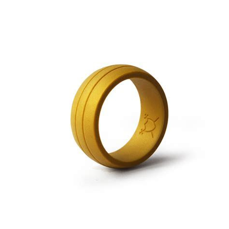 Double Debossed Flexible Silicone Wedding Band Ring   Gold