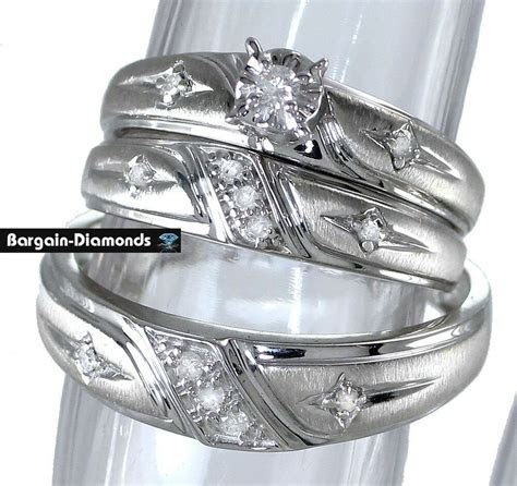 diamond 3 ring .20 carat wedding band set Cross Christian