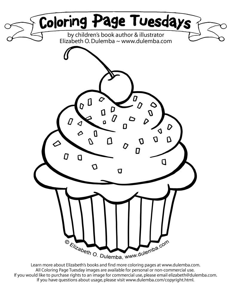 dulemba: Coloring Page Tuesday - Cupcake!