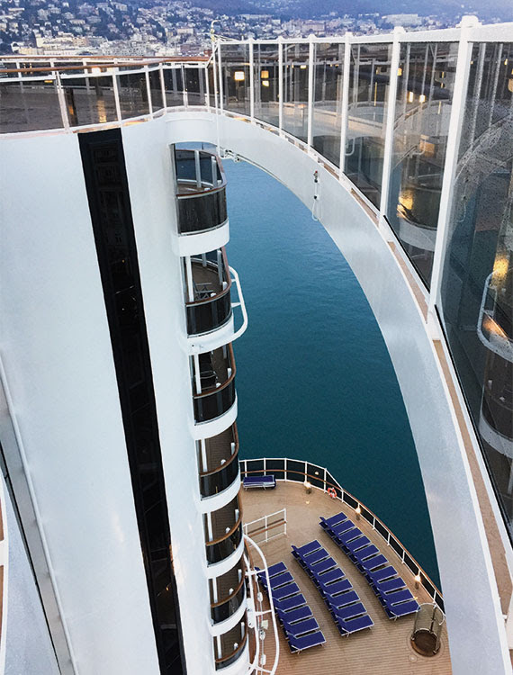 MSC likens the aft design to a Miami Beach condo. The suites there overlook a broad pool area on Deck 8. Photo Credit: Tom Stieghorst