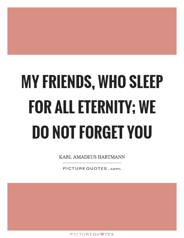My Friends Who Sleep For All Eternity We Do Not Forget You