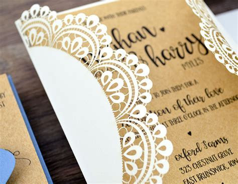 Rustic Lace Doily Laser Cut Wedding Invitation   Cards