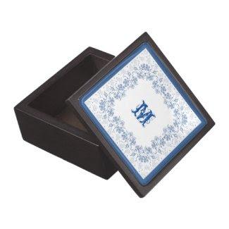 Custom Indigo Blue Floral Border Jewelry Box Premium Gift Box