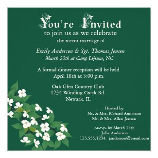 Kousa Dogwood Wedding Reception Invitation