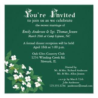 Kousa Dogwood Wedding Reception Invitation