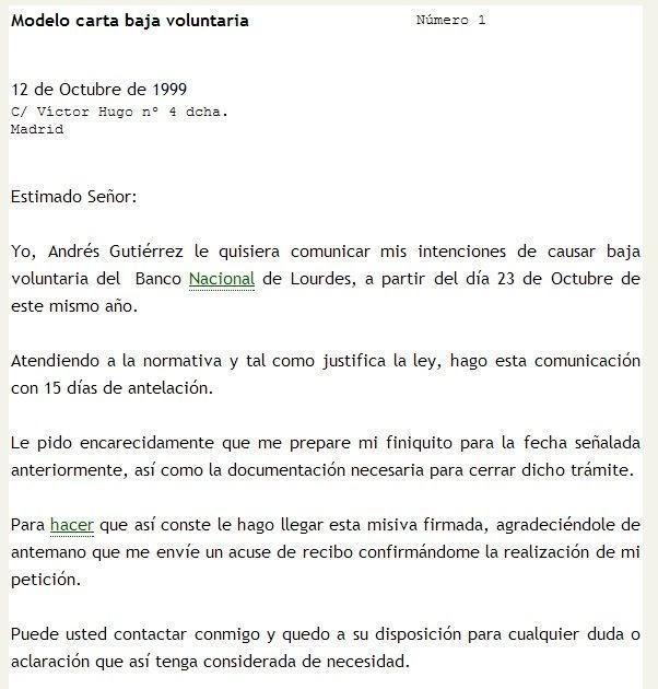Carta De Baja Voluntaria Pdf Apple Jack 0