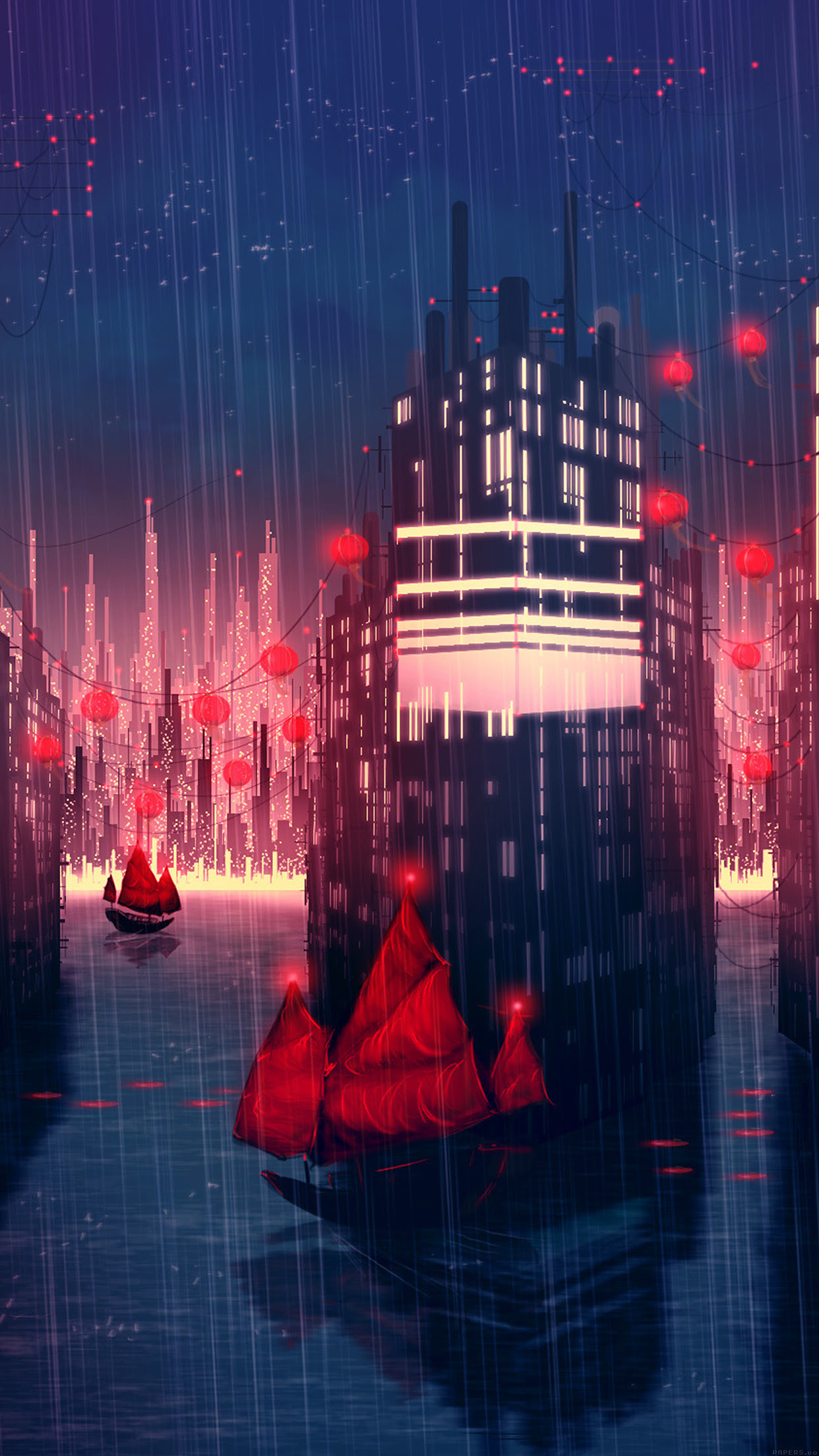 PAPERS.co | iPhone wallpaper | aj08-rainy-anime-city-art ...