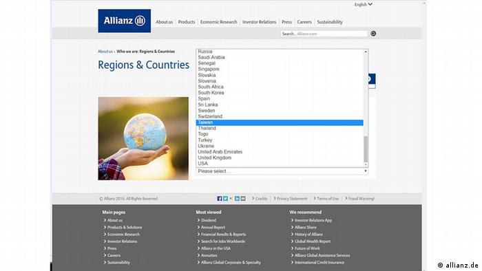 Screenshot Allianz - Standort Taiwan (allianz.de)
