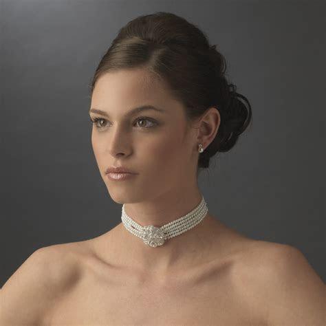 Bridal 5 Row Choker Pearl Necklace & Earring Sets NE 600