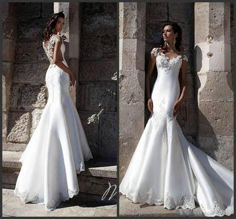 Graceful White Satin Mermaid Wedding Dresses Sheer
