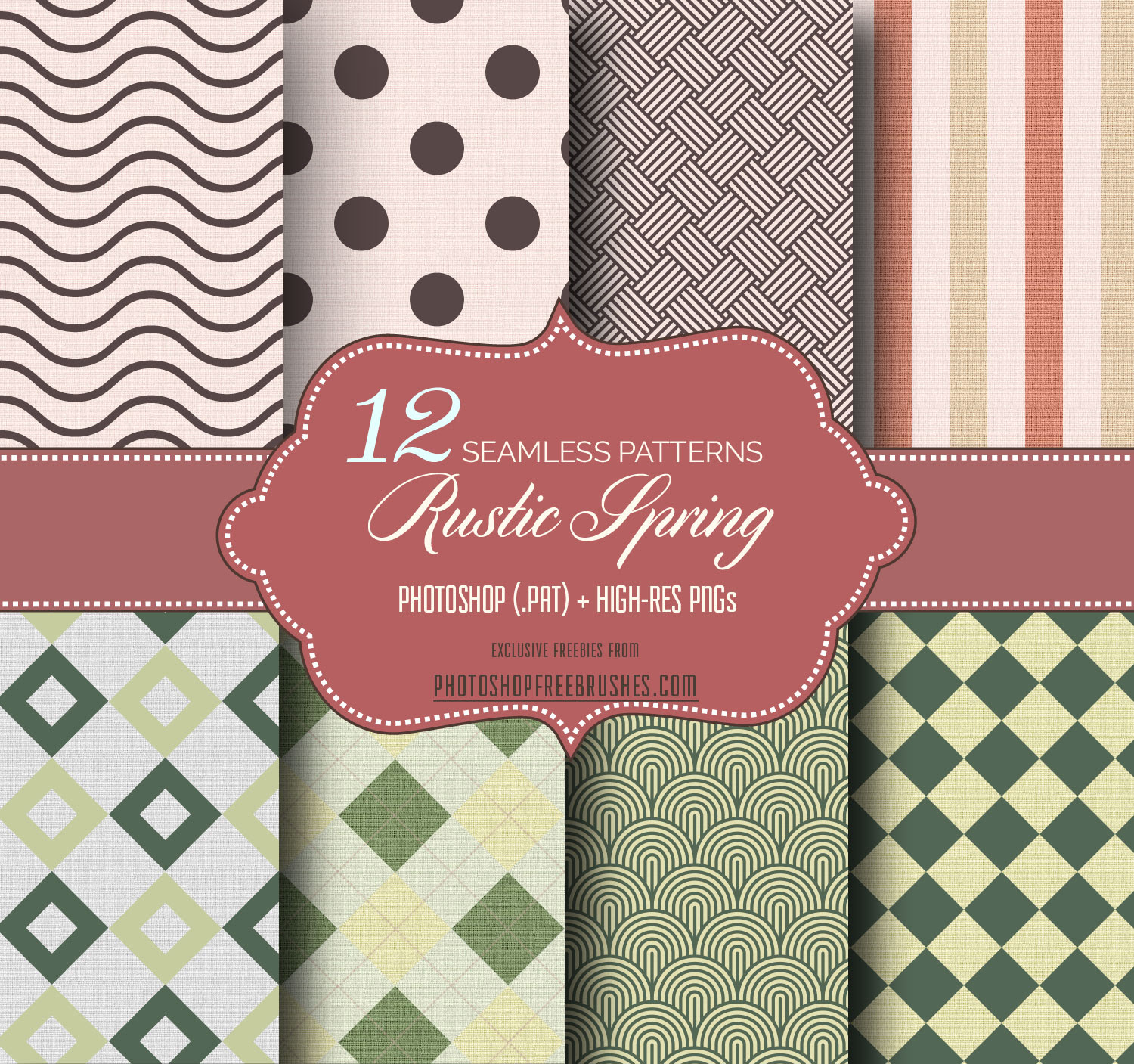 Rustic Spring Seamless Patterns in Burlap Background