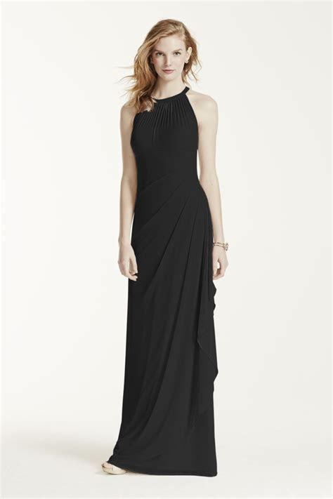 NEW! Davids Bridal Long Mesh Dress with Illusion Neckline