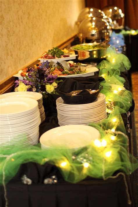 Buffet  blue/green/lights/hanging crystals/flowers   Our