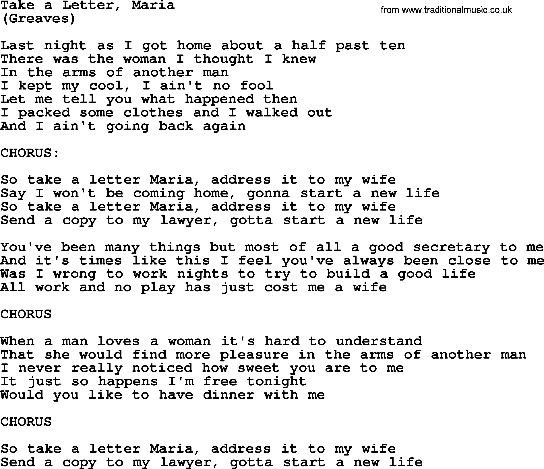 Take A Letter, Maria, by The Byrds - lyrics with pdf