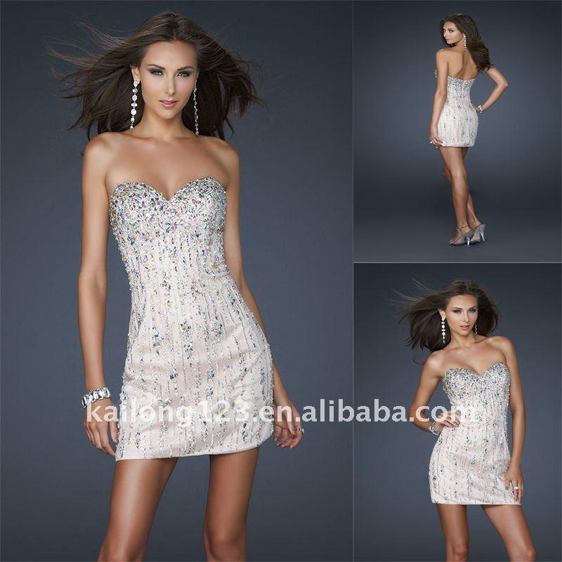 Short beaded evening dresses