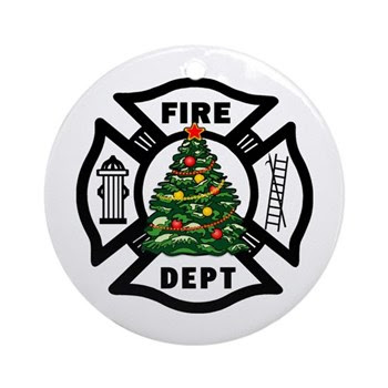 Firefighter Christmas Ornament Tree and Fire Dept Logo