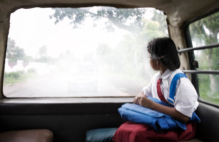 Going Home - School, Girl, Bus, Motion