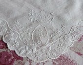 Antique French Victorian heirloom handkerchief, 1900s hand embroidered hanky w name embroidery, hand kerchief, romantic - MyFrenchAntiqueShop