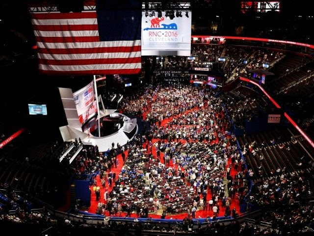 CLEVELAND, OH - JULY 18:  on the first day of the Republican National Convention on July 18, 2016 at the Quicken Loans Arena in Cleveland, Ohio. An estimated 50,000 people are expected in Cleveland, including hundreds of protesters and members of the media. The four-day Republican National Convention kicks off on July 18. (Photo by