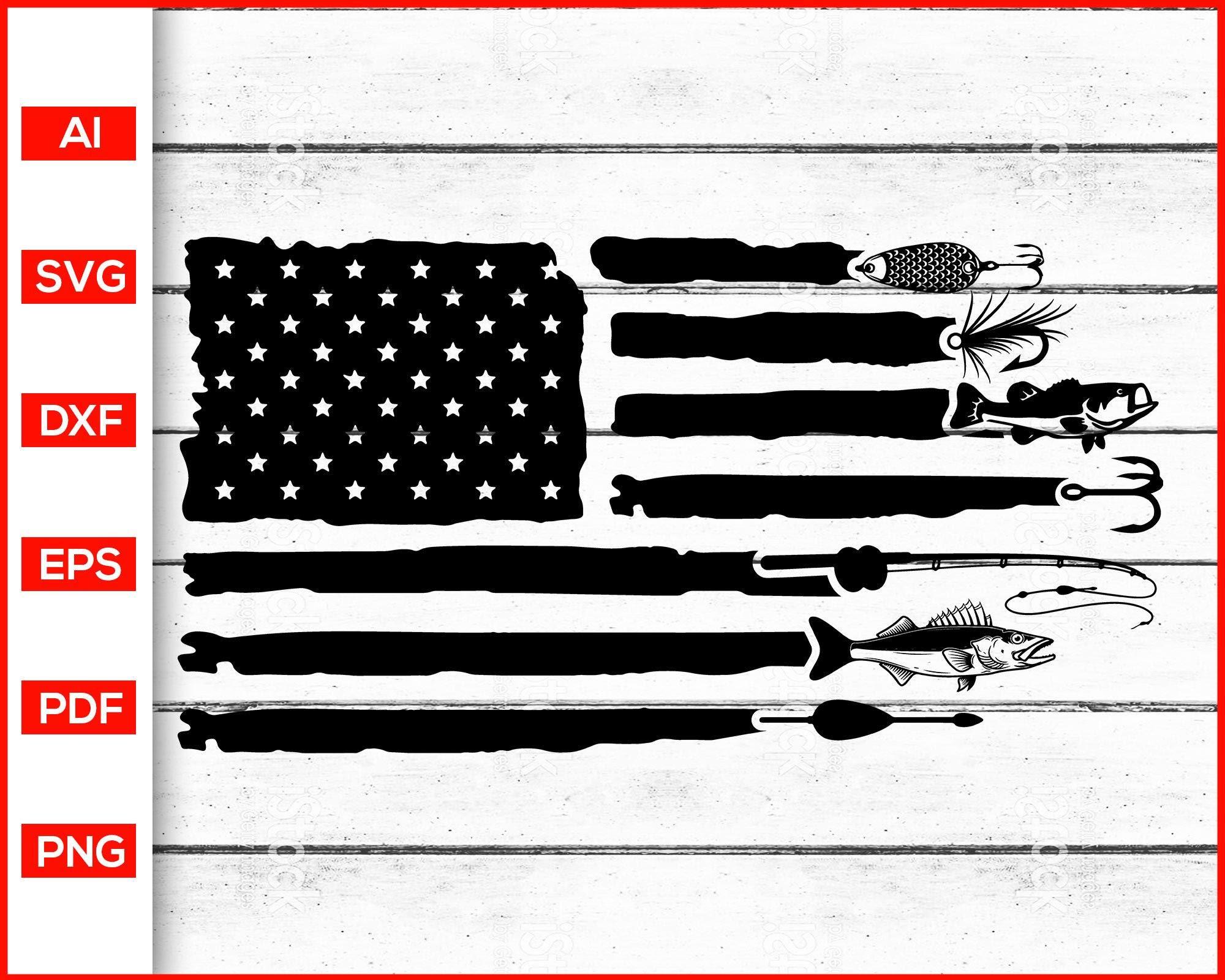 Download Fishing Distressed American Flag Svg Editable Svg File
