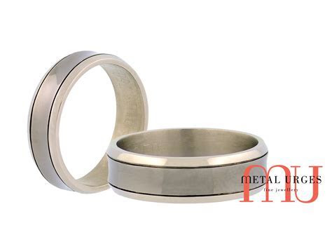 White gold and titanium black rhodium mens wedding ring