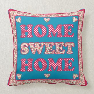 Home Sweet Home Pillow, Red and Blue Mix'n'Match