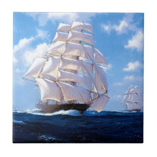 Square rigged ship at sea tiles