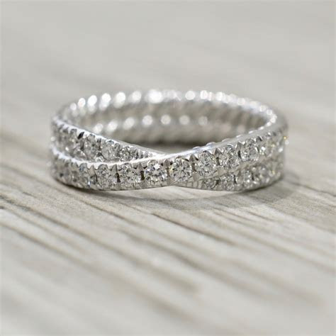 Double Row Crossover Diamond Eternity Band in White