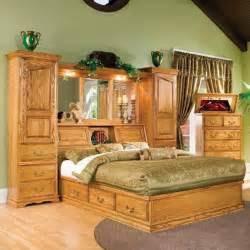 queen pier wall unit  medium oak nebraska furniture