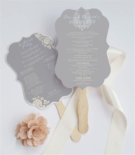 Die cut wedding program fan ? Deersfield (grey cream