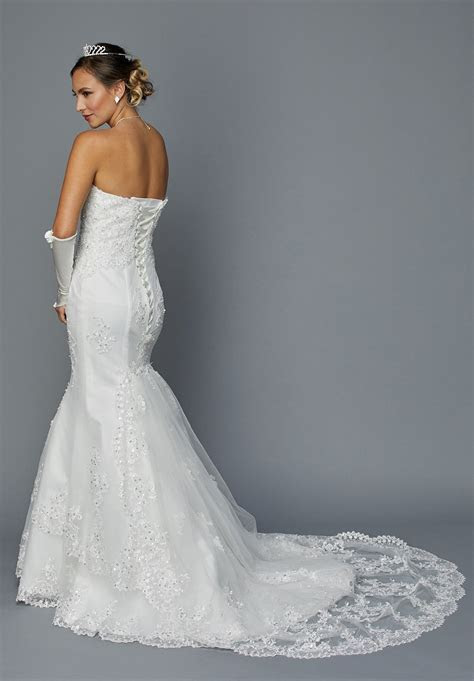 Juliet 362 Ivory Embroidered Strapless Mermaid Style
