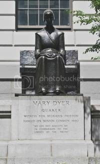 Quaker Mary Dyer defied the laws of Massachusetts Bay Colony