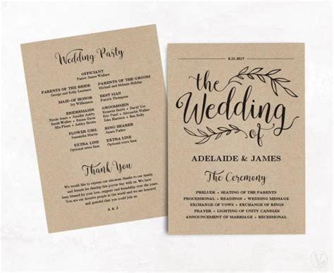 Printable Wedding Program, Wedding Program Template, Kraft