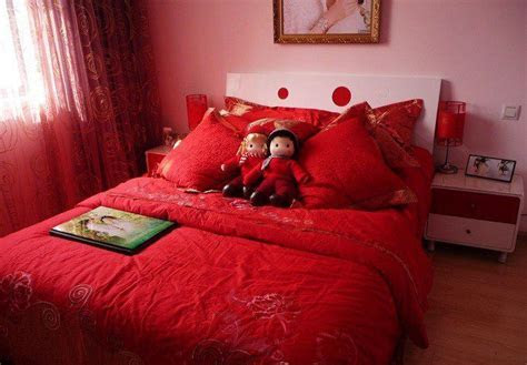 Chinese wedding bedroom. Red red red.   Wedding chinese