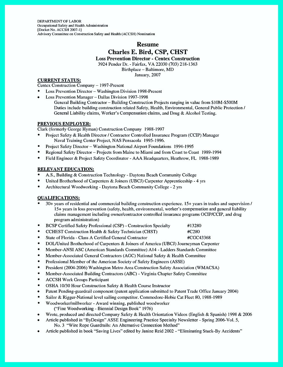 Construction Worker Resume Example To Get You Noticed
