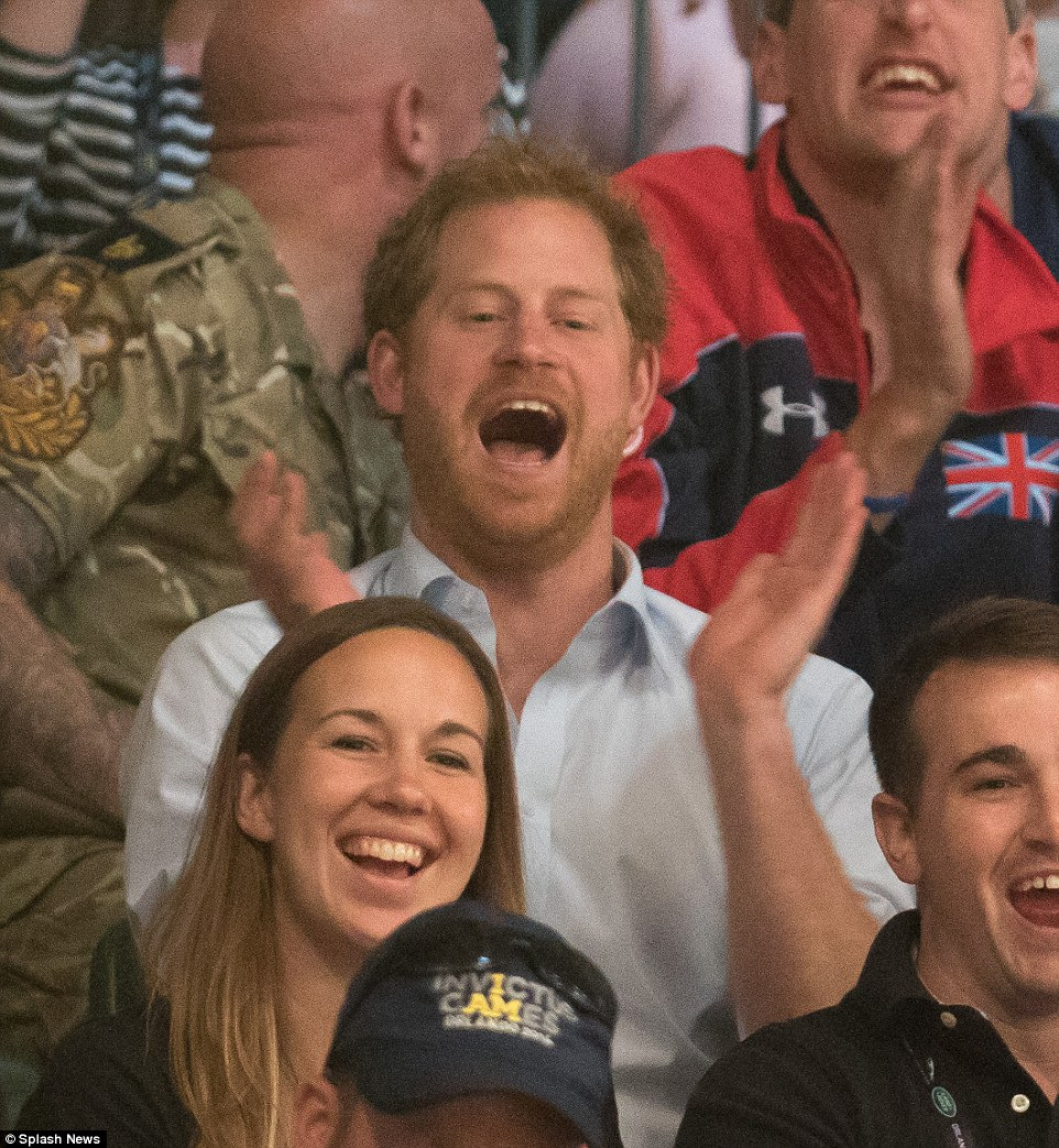 Prince Harry cheered on the celebrity wheelchair rugby game during the third day of the Invictus Games, in Orlando, Florida