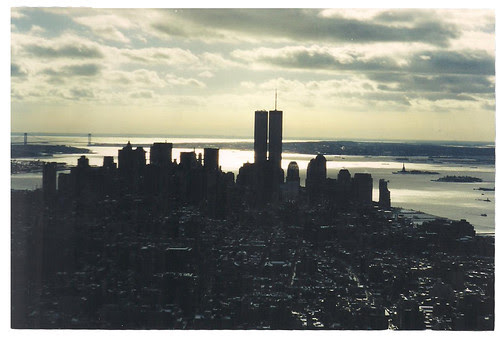 view of the twin towers from the empire state building