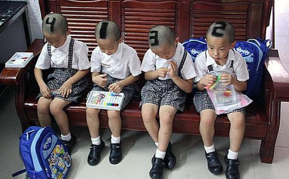 Anak Kembar Empat dibedakan dari angka di kepala