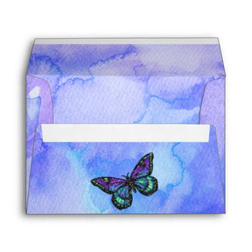 Download Butterfly Purple and Blue Painted Envelope | Zazzle