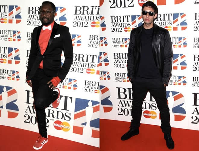 Will.I.Am and Example Brit Awards 2012 Red Carpet