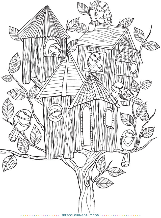 86 Top Free Coloring Pages Bird Houses For Free