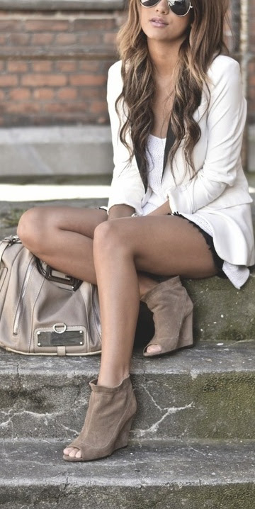 love the peep toe booties