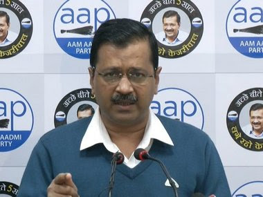 Arvind Kejriwal addressing the media on Monday. Image courtesy: Twitter/@AamAadmiParty